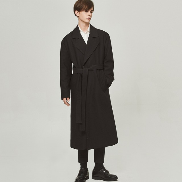 [단하우스] BLACK Oversized Robe Coat