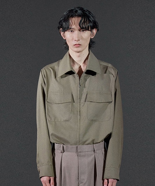 [바이플래퍼] BF 2way zipper shirt jacket khaki