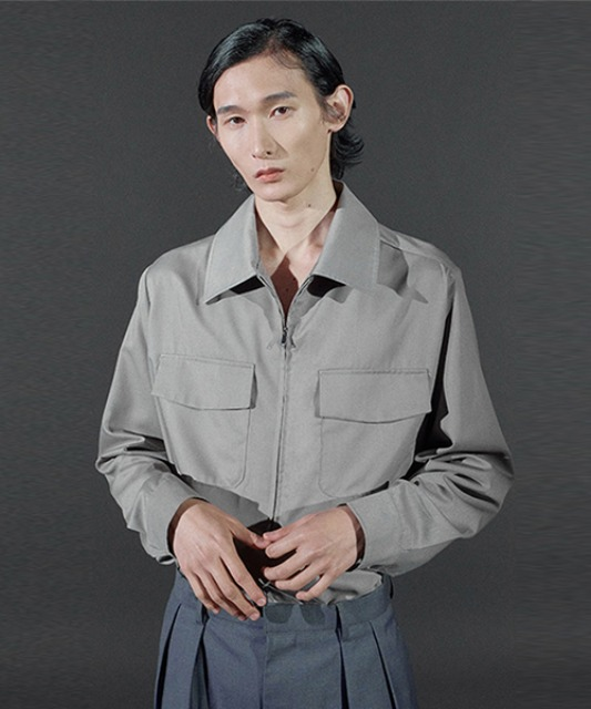 [바이플래퍼] BF 2way zipper shirt jacket gray
