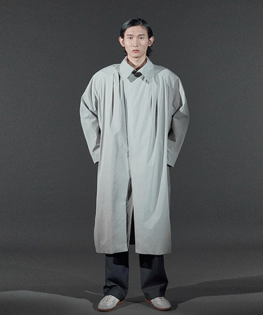 [바이플래퍼] BF shoulder pad coat gray