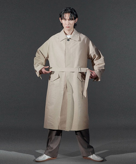 [바이플래퍼] BF single trench coat beige