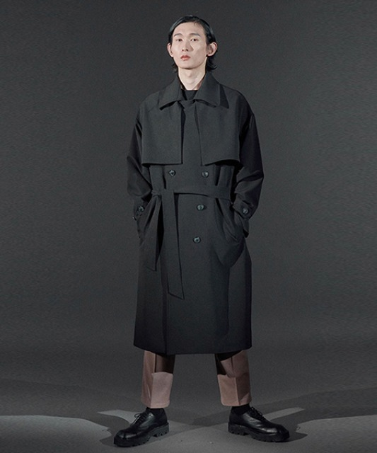 [바이플래퍼] BF double trench coat black