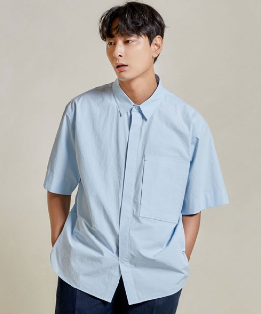 [밈더워드로브] RIVER Pocket Half Shirt_Sky Blue 20ss