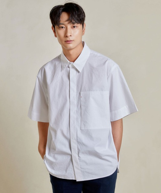 [밈더워드로브] RIVER Pocket Half Shirt_White 20ss