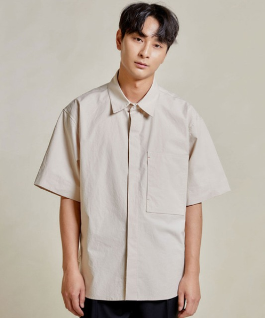 [밈더워드로브] RIVER Pocket Half Shirt_Beige 20ss