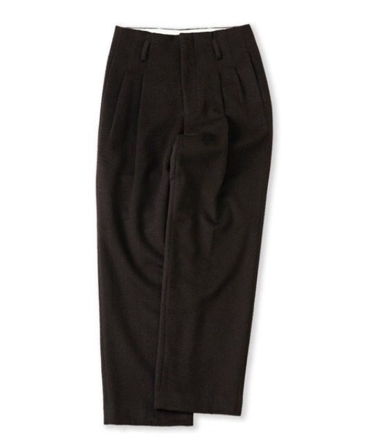 [퍼렌] heavy wool 2pleats wide trousers_dark brown