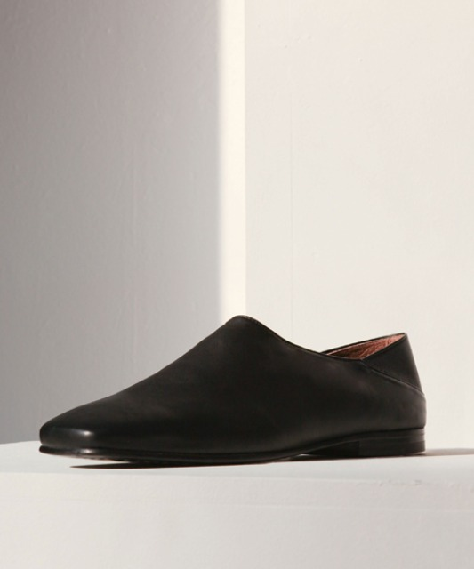 [밈더워드로브] MINIMAL Italy Leather Fold-Back Loafers_Black