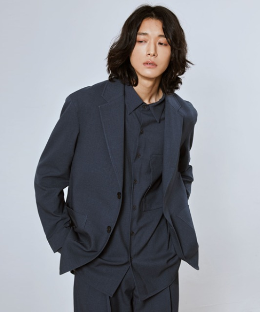 [밈더워드로브] SAGE Wool Blended Single Jacket_Blue Grey (Set-up)