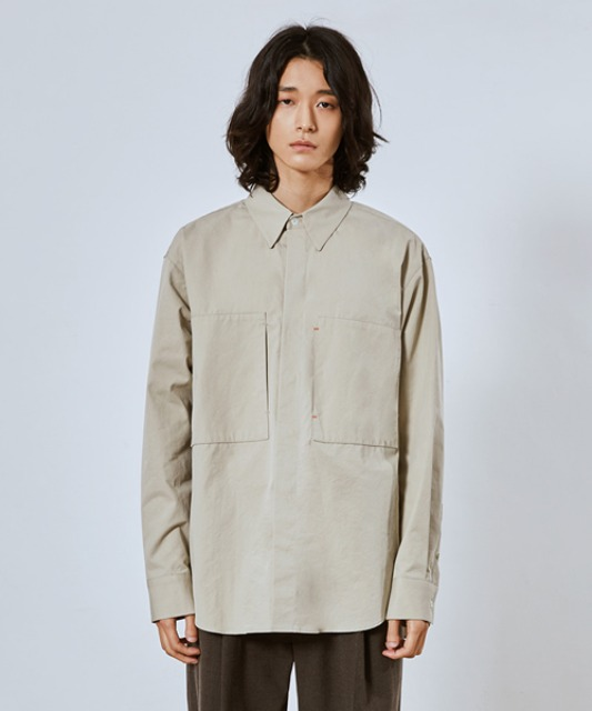 [밈더워드로브] RIVER Double Pocket Cotton Shirt_Beige