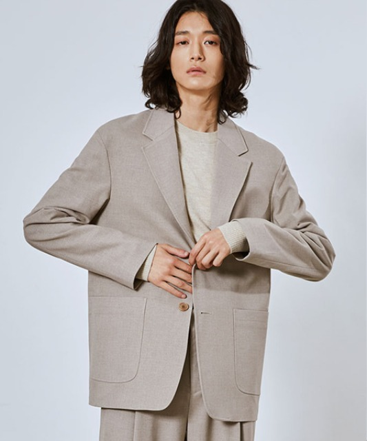[밈더워드로브] SAGE Wool Blended Single Jacket_Sand (Set-up)