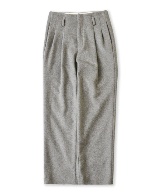 [퍼렌] heavy wool 2pleats wide trousers_light gray