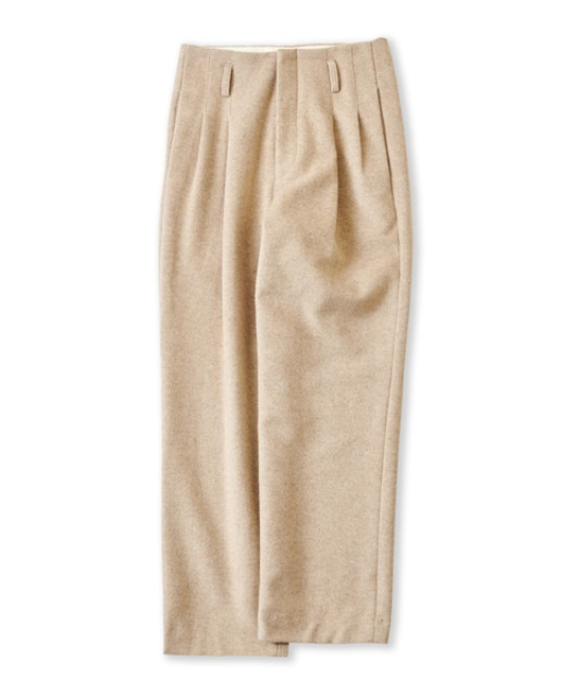 [퍼렌] heavy wool 2pleats wide trousers_oatmeal