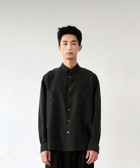 [노운] easy tencel shirt (black)