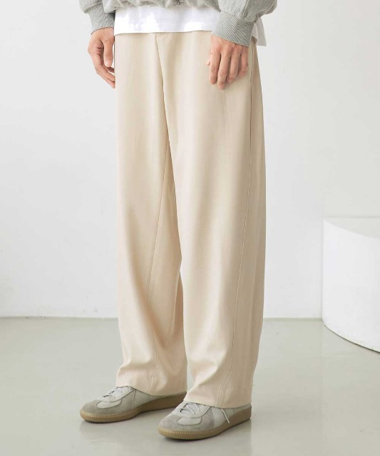 [노운] wave stitch wide banding pants (ivory)