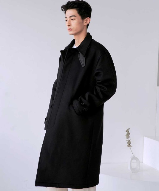 [노운] balmacaan heavy coat (black)
