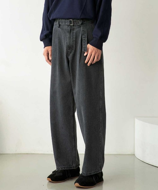 신년특별 한정 수량 할인 [노운] belted wide denim pants (grey/black stitch)