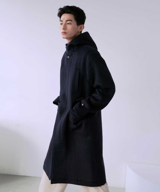 [노운] hooded single breasted coat (navy)