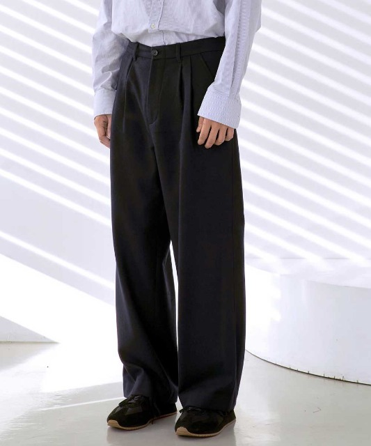 [노운] back pocket wide wool pants (navy)