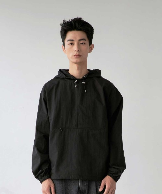 [노운] hooded woven anorak (black)