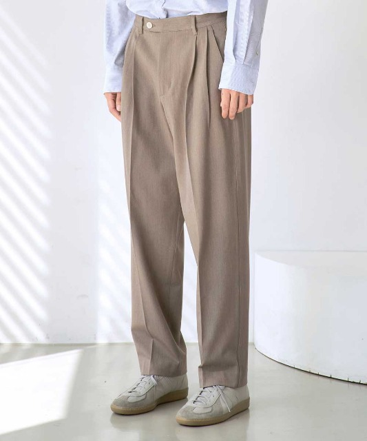 [노운] wide tapered pants (khaki brown)