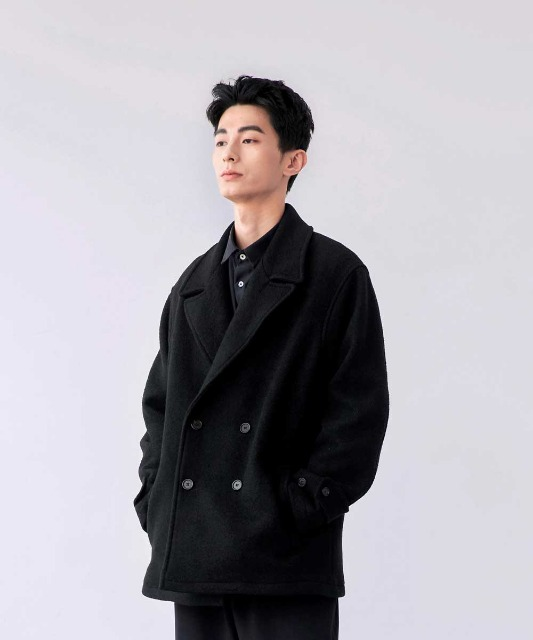 [노운] double breasted half coat (black)