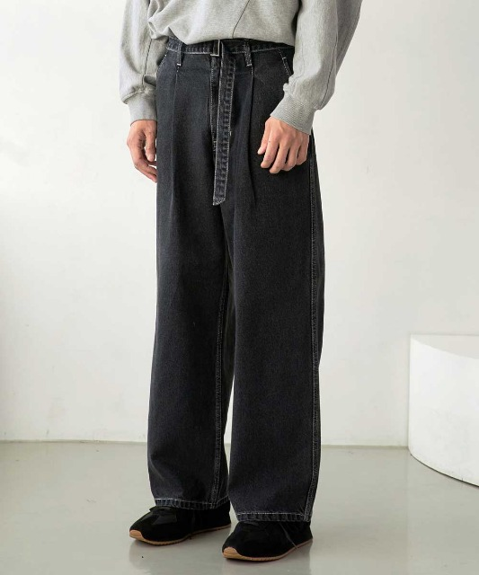 신년특별 한정 수량 할인 [노운] belted wide denim pants (charcoal/white stitch)