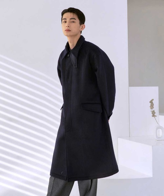 [노운] balmacaan heavy coat (navy)