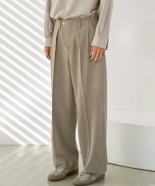 [재입고][노운] wave front wide pants (khaki beige)