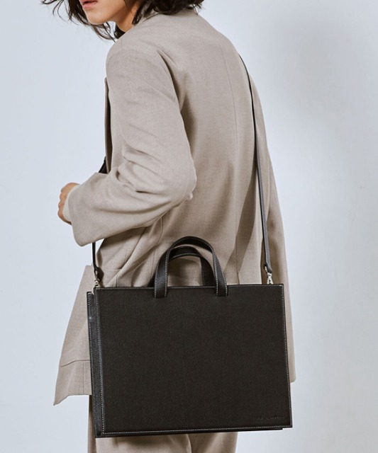 [밈더워드로브] RECTANGLE Stitch Leather Cross Tote Bag