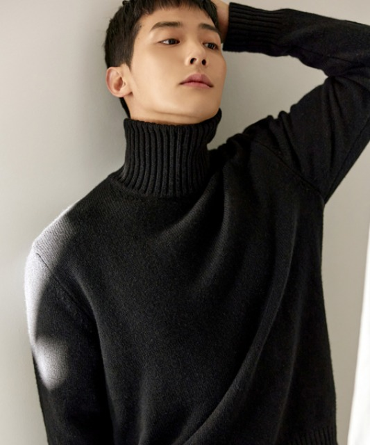 [밈더워드로브] MULTI COLOR Merino Wool Turtle-Neck Knit_Black