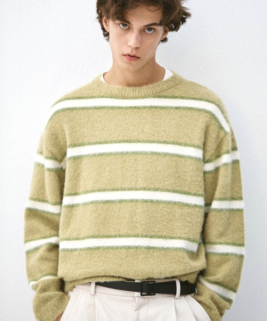 [알렌느] MELONWHITE blushed mohair stripe knit (MT102)