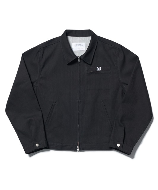 [노매뉴얼] STRIPED WORK JACKET - CHARCOAL