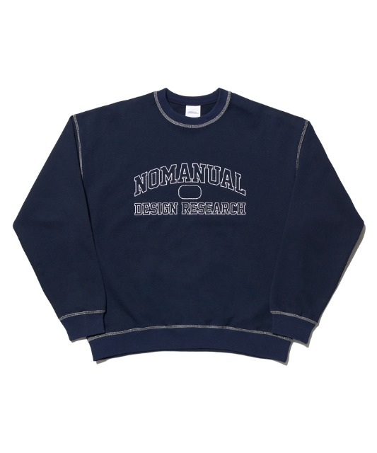 [노매뉴얼] STITCH LOGO SWEATSHIRT - NAVY