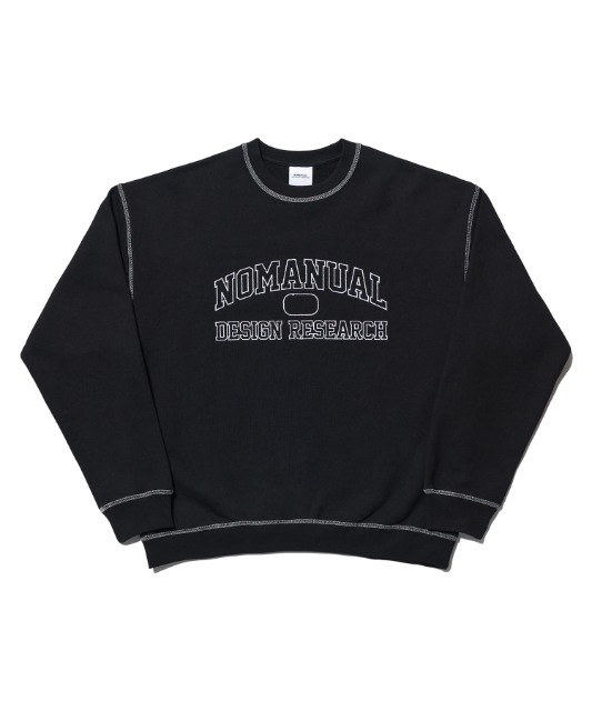 [노매뉴얼] STITCH LOGO SWEATSHIRT - BLACK