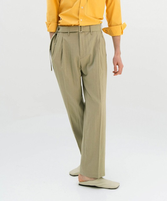 5.10 배송 [밈더워드로브] CRINKLE Belted 2Pleats Pants_Khaki