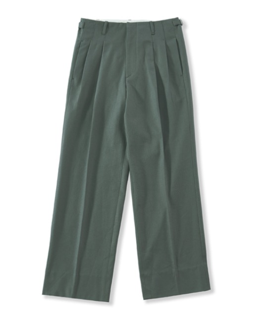 [퍼렌] 2pleats wide trousers_gray green