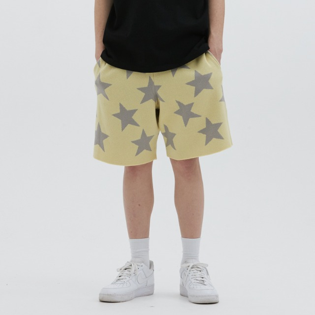 [위캔더스] KNITTED STAR SHORT (YELLOW)