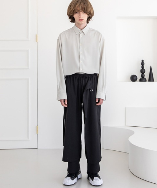 [비긴202] (Begin2.0.2 x Glothes_Studio) Light Polyerster Layered Pants BLACK