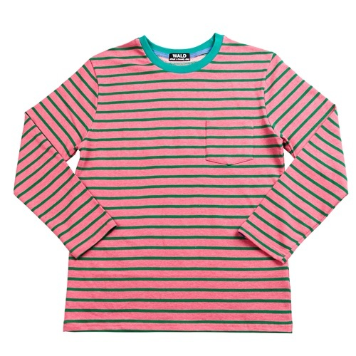 [더블유에이엘디]WALD Stripe Pocket T-shirts (Pink/Green)