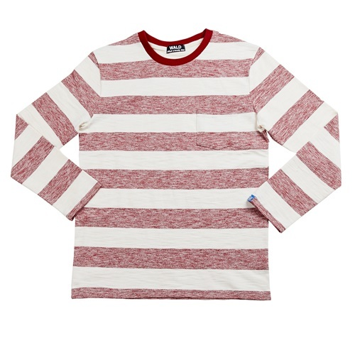 [더블유에이엘디]WALD Stripe Pocket T-shirts (Red/Ivory)