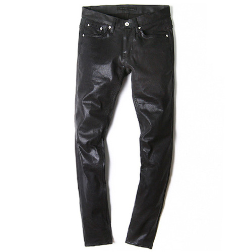M#0113 gloss black coating pants