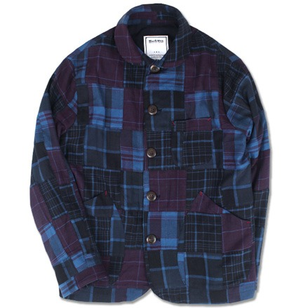 FLANNEL PATCHWORK CHORE JACKET (NAVY)