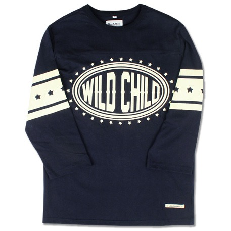 WILD CHILD FOOTBALL TEE (NAVY)