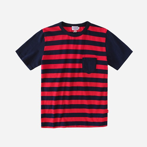 [커버낫]S/S MIXED STRIPE POCKET T-SHIRTS RED/NAVY