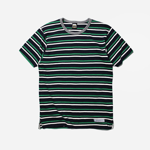 [프리즘웍스]Multi stripe tee _ navy/green