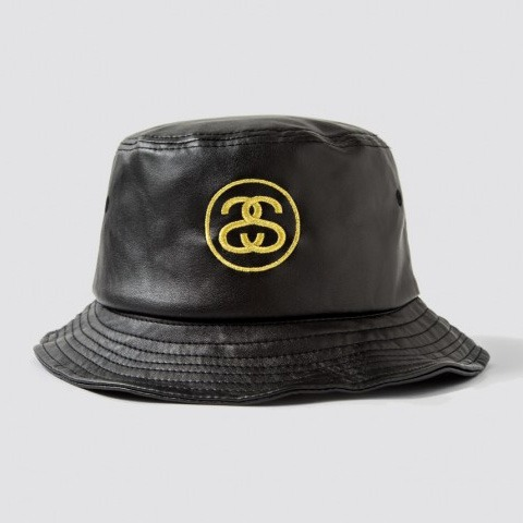 SS Link Leather Bucket Hat Black